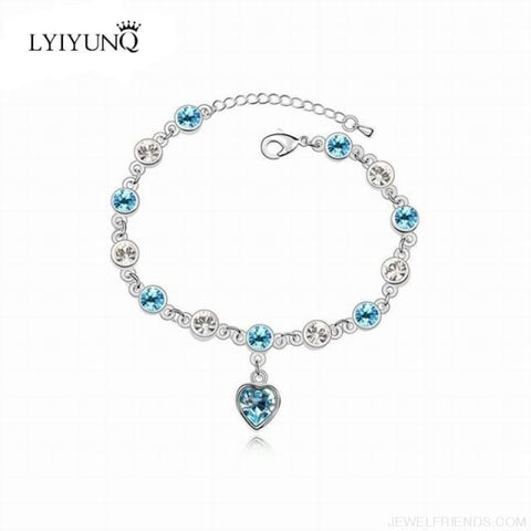 Image of Heart Crystal Silver-Color Fine Bracelet - S001 S Sky Blue - Custom Made | Free Shipping