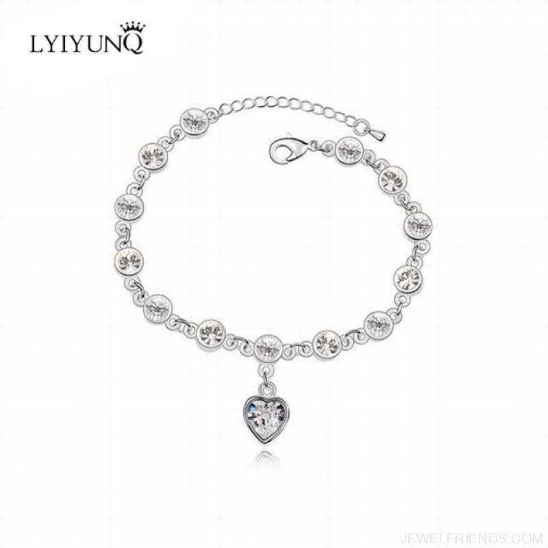 Heart Crystal Silver-Color Fine Bracelet - S001 S White - Custom Made | Free Shipping