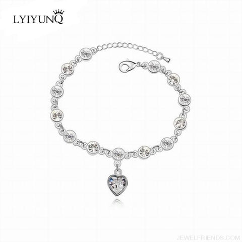 Image of Heart Crystal Silver-Color Fine Bracelet - S001 S White - Custom Made | Free Shipping