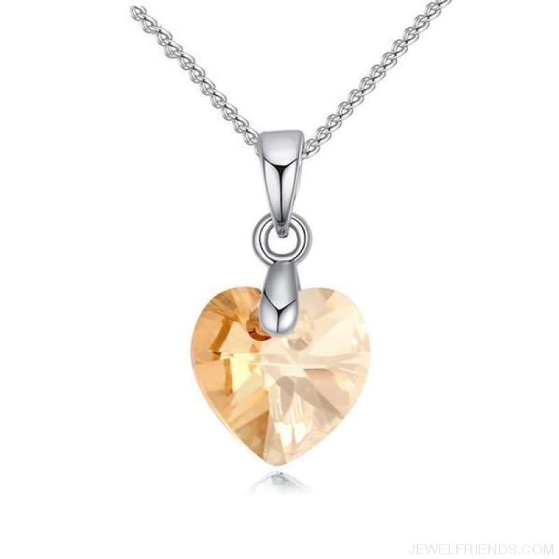 Heart Crystals Swarovski Silver Color Chain Necklace - Crystal Golden Shade - Custom Made | Free Shipping