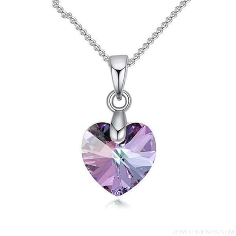 Image of Heart Crystals Swarovski Silver Color Chain Necklace - Crystal Vl - Custom Made | Free Shipping