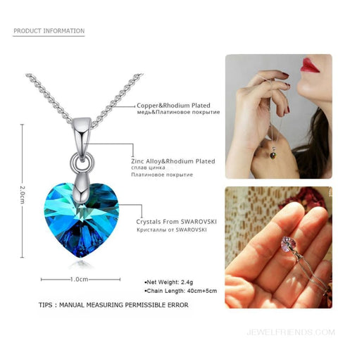 Image of Heart Crystals Swarovski Silver Color Chain Necklace - Custom Made | Free Shipping