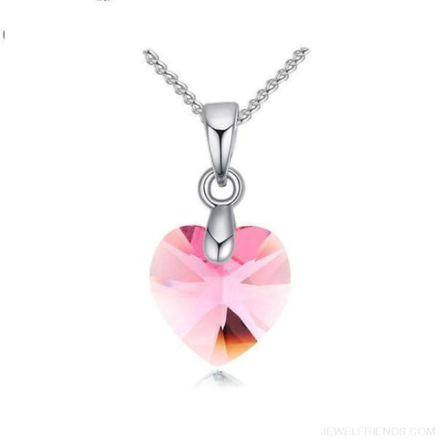 Image of Heart Crystals Swarovski Silver Color Chain Necklace - Light Rose - Custom Made | Free Shipping