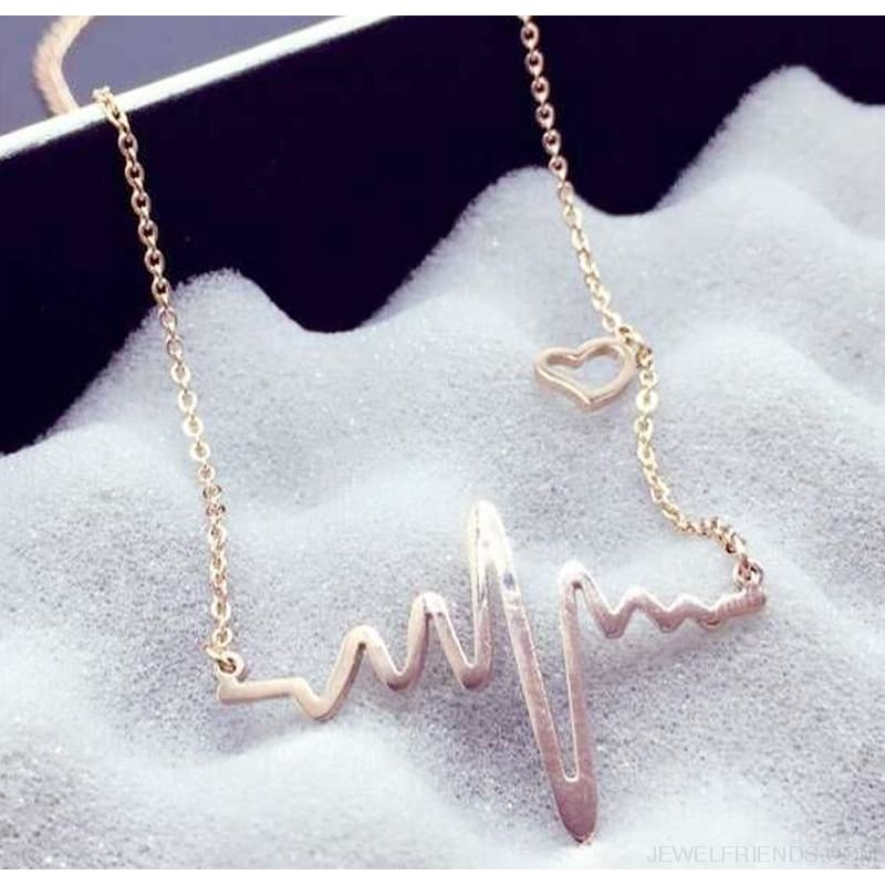 Heart Electrocardiogram Pulse Necklace - Custom Made | Free Shipping