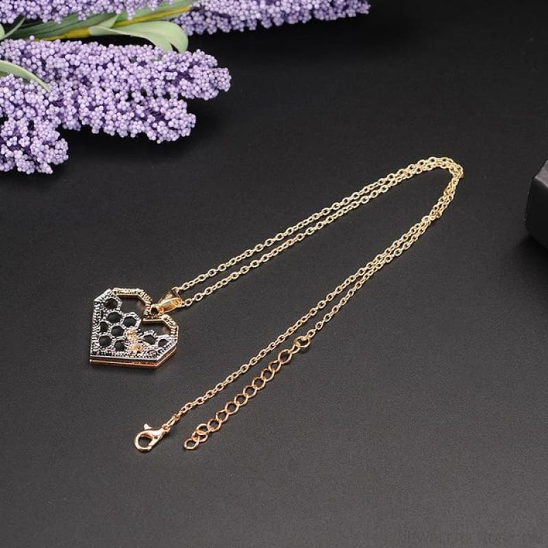 Heart Honeycomb Bee Necklace - Gold - Custom Made | Free Shipping