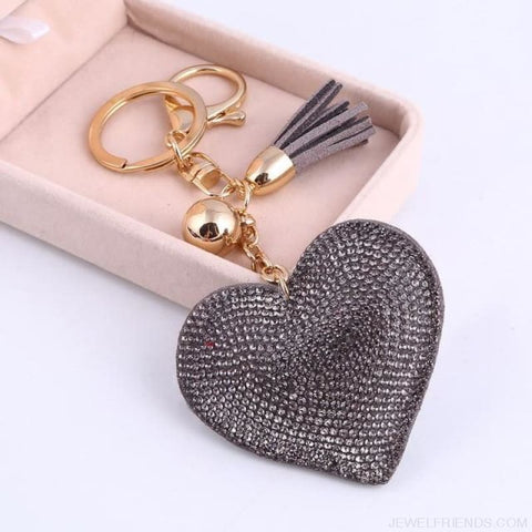 Image of Heart Leather Tassel Gold Key Holder - Ft042A - Custom Made | Free Shipping