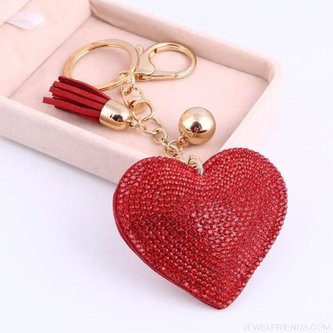 Image of Heart Leather Tassel Gold Key Holder - Ft043A - Custom Made | Free Shipping
