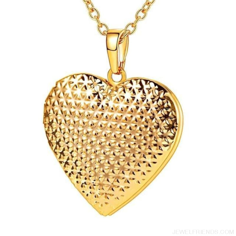 Heart Locket Gold Photo Frame Memory Romantic Necklace - Dotted Gold / China - Custom Made | Free Shipping
