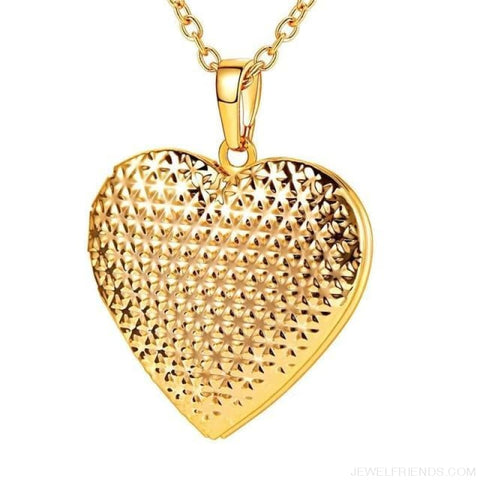 Image of Heart Locket Gold Photo Frame Memory Romantic Necklace - Dotted Gold / China - Custom Made | Free Shipping