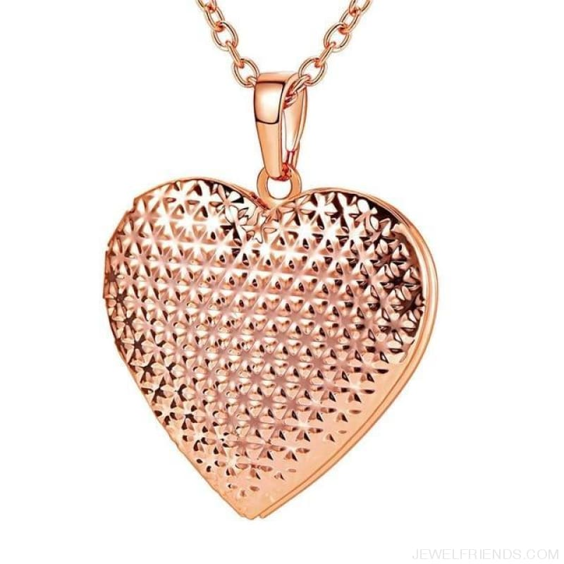 Heart Locket Gold Photo Frame Memory Romantic Necklace - Dotted Rose Gold / China - Custom Made | Free Shipping