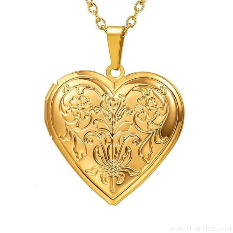 Heart Locket Gold Photo Frame Memory Romantic Necklace - Flower Gold / China - Custom Made | Free Shipping