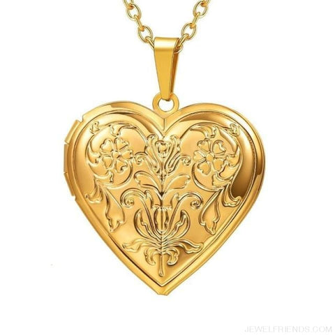 Image of Heart Locket Gold Photo Frame Memory Romantic Necklace - Flower Gold / China - Custom Made | Free Shipping