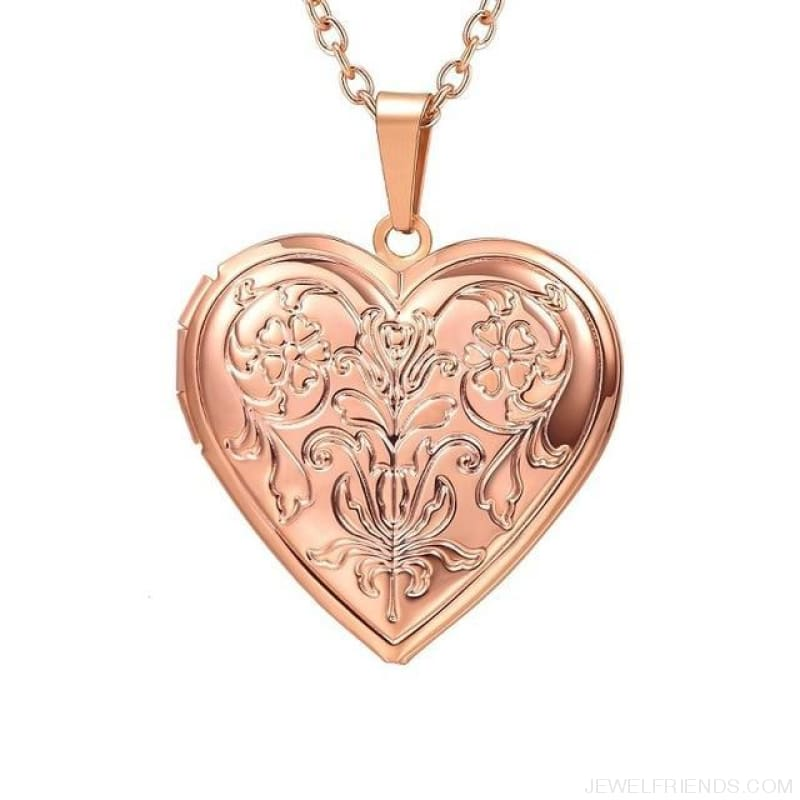 Heart Locket Gold Photo Frame Memory Romantic Necklace - Flower Rose Gold / China - Custom Made | Free Shipping