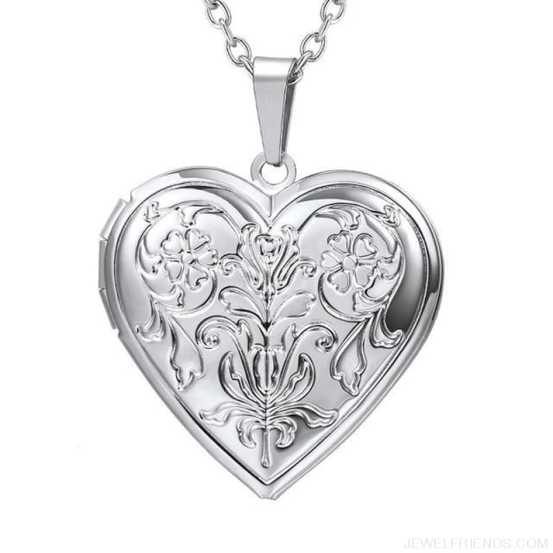 Heart Locket Gold Photo Frame Memory Romantic Necklace - Flower Silver / China - Custom Made | Free Shipping