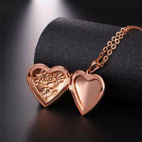 Image of Heart Locket Gold Photo Frame Memory Romantic Necklace - Custom Made | Free Shipping