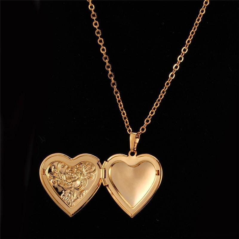 Heart Locket Gold Photo Frame Memory Romantic Necklace - Custom Made | Free Shipping
