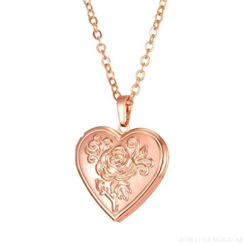 Heart Locket Gold Photo Frame Memory Romantic Necklace - Rose Rose Gold / China - Custom Made | Free Shipping