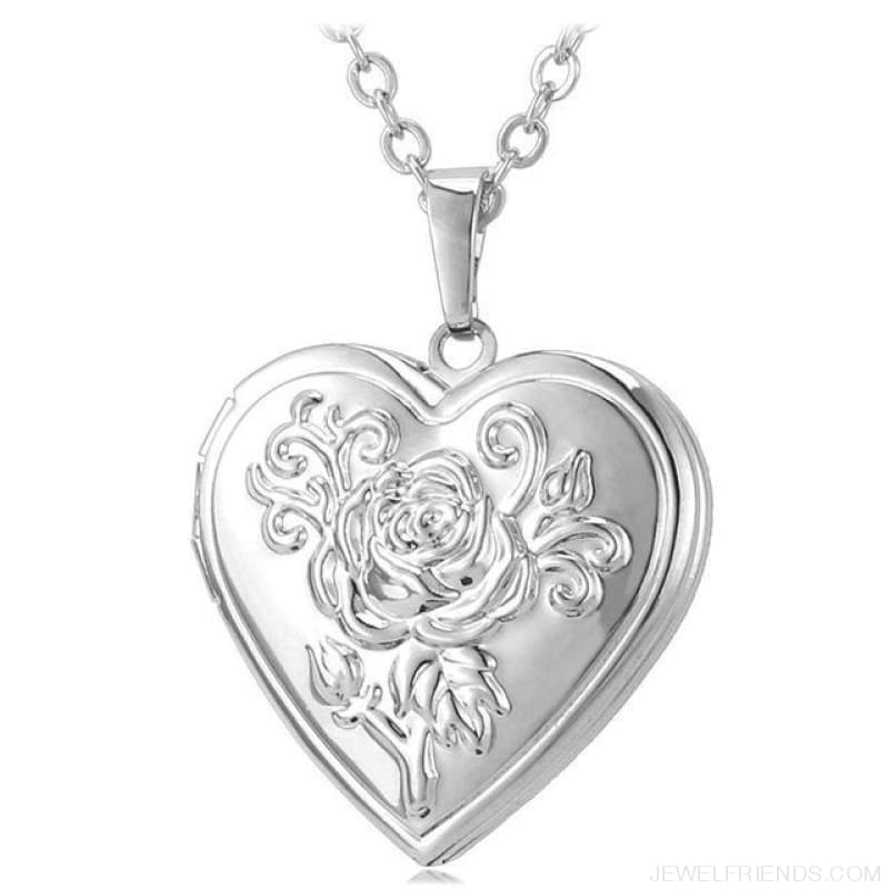 Heart Locket Gold Photo Frame Memory Romantic Necklace - Rose Silver / China - Custom Made | Free Shipping