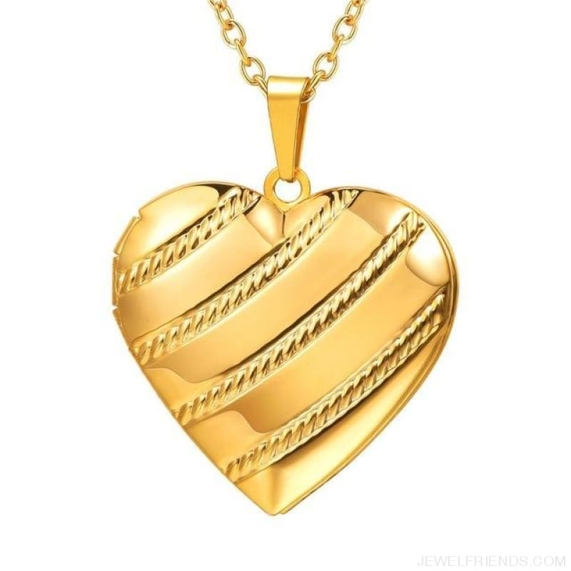 Heart Locket Gold Photo Frame Memory Romantic Necklace - Stripes Gold / China - Custom Made | Free Shipping