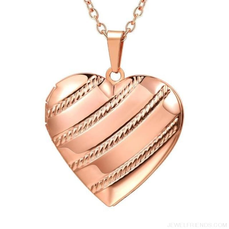 Heart Locket Gold Photo Frame Memory Romantic Necklace - Stripes Rose Gold / China - Custom Made | Free Shipping