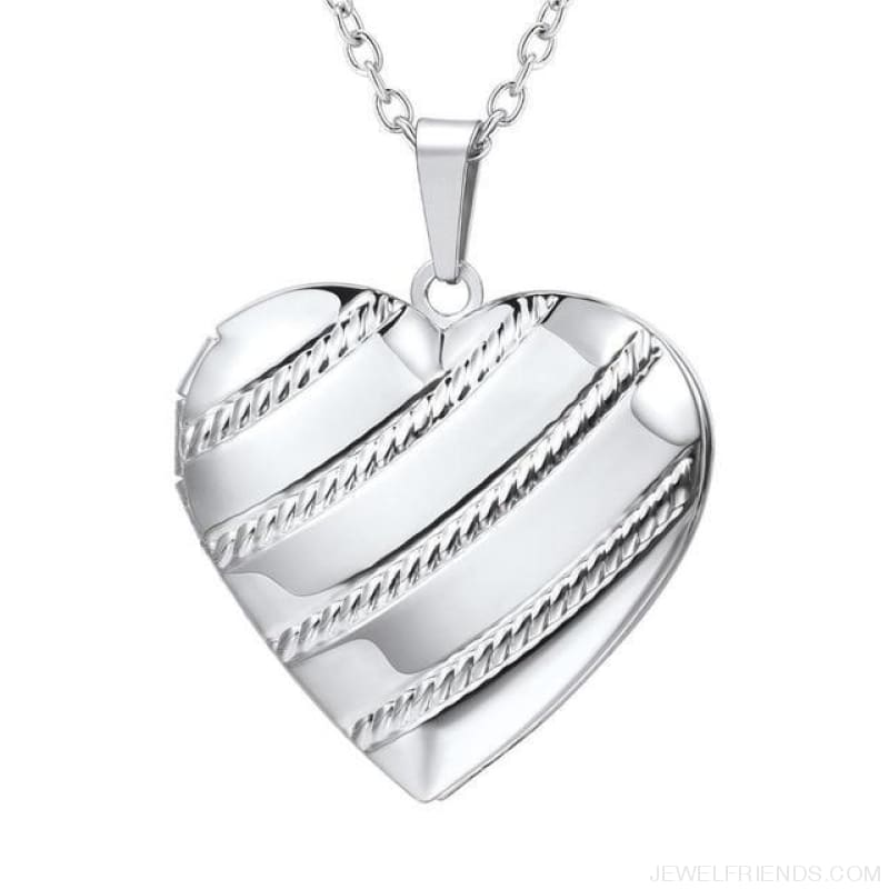 Heart Locket Gold Photo Frame Memory Romantic Necklace - Stripes Silver / China - Custom Made | Free Shipping