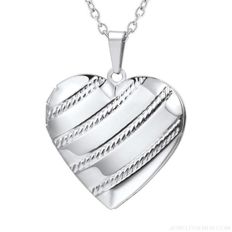 Image of Heart Locket Gold Photo Frame Memory Romantic Necklace - Stripes Silver / China - Custom Made | Free Shipping