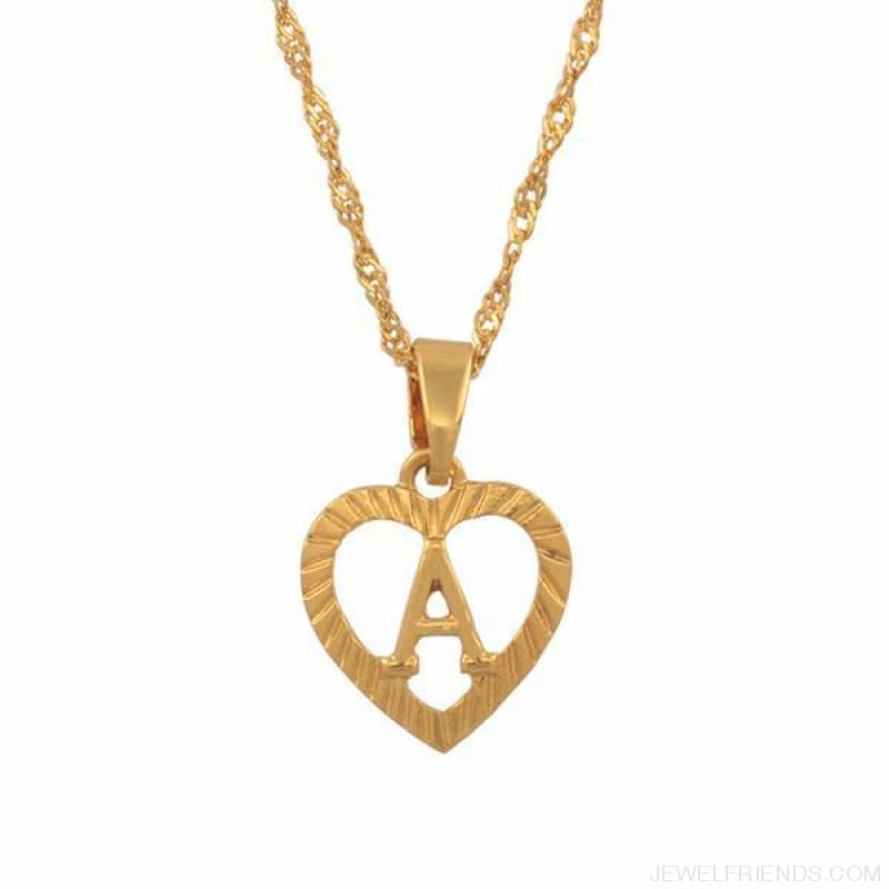 14dbd4a65 Heart Shape Letters Necklaces Gold Color - Custom Made | Free Shipping.  Hover to zoom