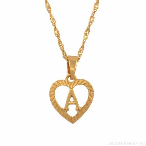 Heart Shape Letters Necklaces Gold Color - Custom Made | Free Shipping