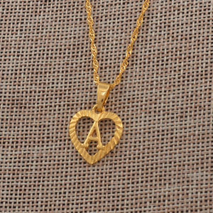 Heart Shape Letters Necklaces Gold Color