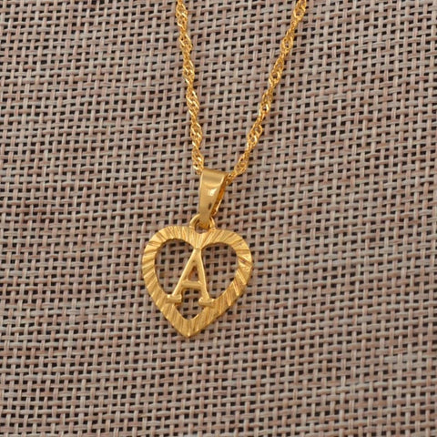 Image of Heart Shape Letters Necklaces Gold Color - Custom Made | Free Shipping