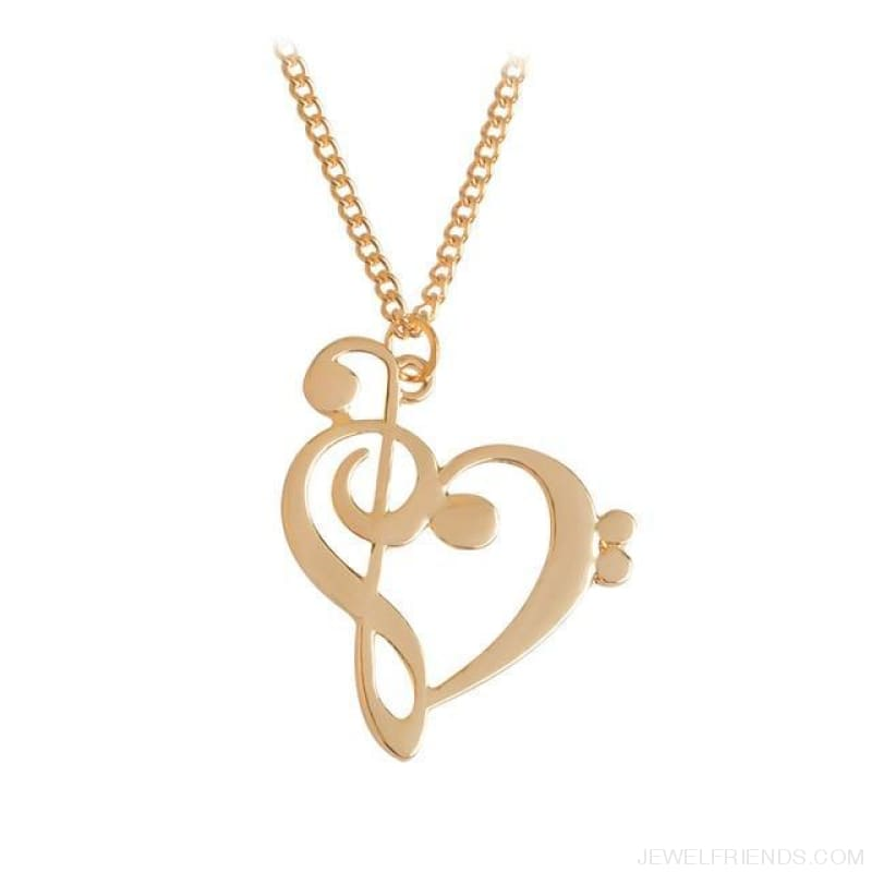 Heart Shaped Musical Note Pendant Necklace - Gold - Custom Made | Free Shipping