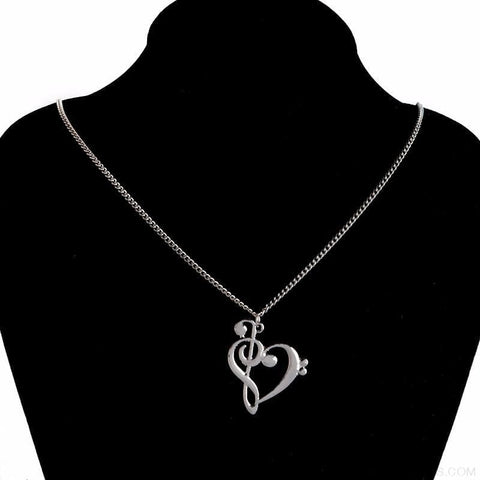 Image of Heart Shaped Musical Note Pendant Necklace - Custom Made | Free Shipping