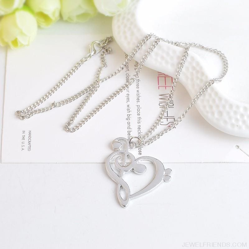 Heart Shaped Musical Note Pendant Necklace - Custom Made | Free Shipping