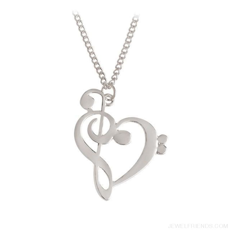 Heart Shaped Musical Note Pendant Necklace - Silver - Custom Made | Free Shipping