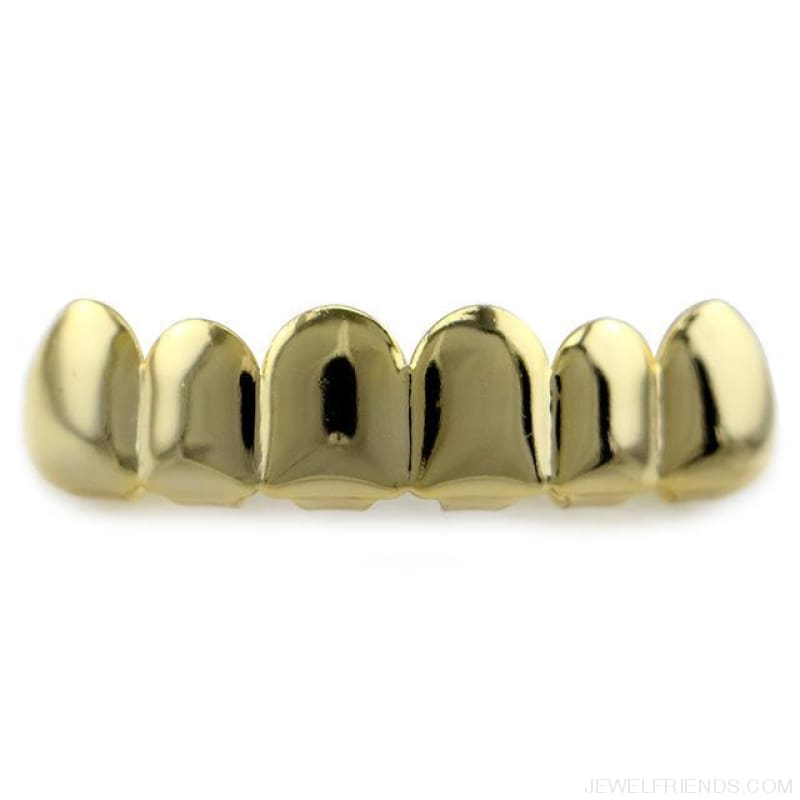 Hip Hop Gold Teeth Grillz Top & Bottom Grills - Gold Top - Custom Made | Free Shipping