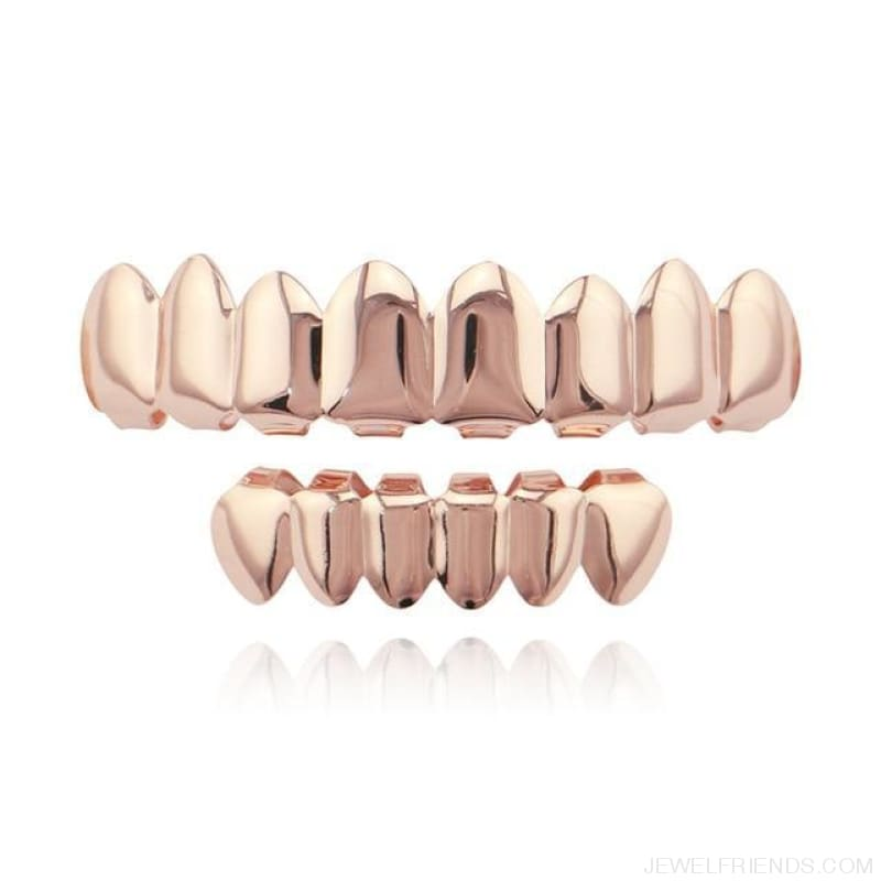 Hip Hop Gold Teeth Grillz Top & Bottom Grills - Rose Gold 1 - Custom Made | Free Shipping