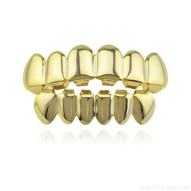 Hip Hop Gold Teeth Grillz Top & Bottom Grills - Gold Set - Custom Made | Free Shipping