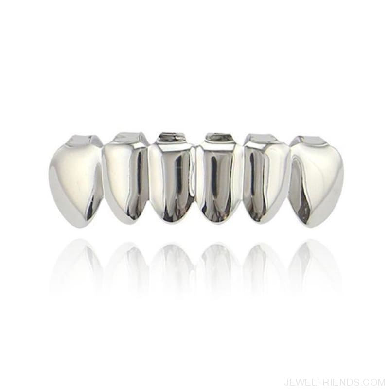 Hip Hop Gold Teeth Grillz Top & Bottom Grills - Silver Bottom - Custom Made | Free Shipping