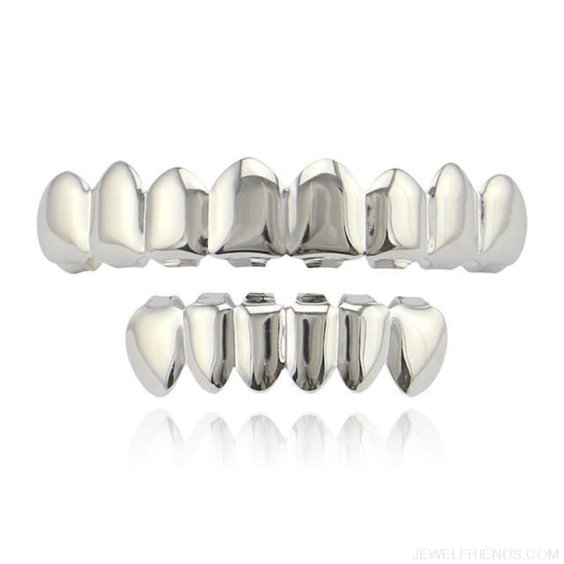 Hip Hop Gold Teeth Grillz Top & Bottom Grills - Silver Set 1 - Custom Made | Free Shipping