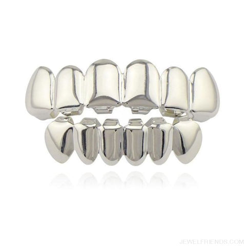 Image of Hip Hop Gold Teeth Grillz Top & Bottom Grills - Silver Set - Custom Made | Free Shipping