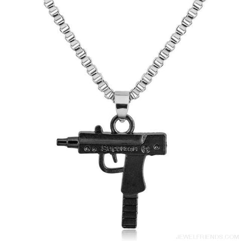 Hip Hop Gun Shape Pendant Necklace - Black - Custom Made | Free Shipping