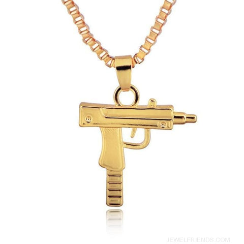 Hip Hop Gun Shape Pendant Necklace - Gold - Custom Made | Free Shipping