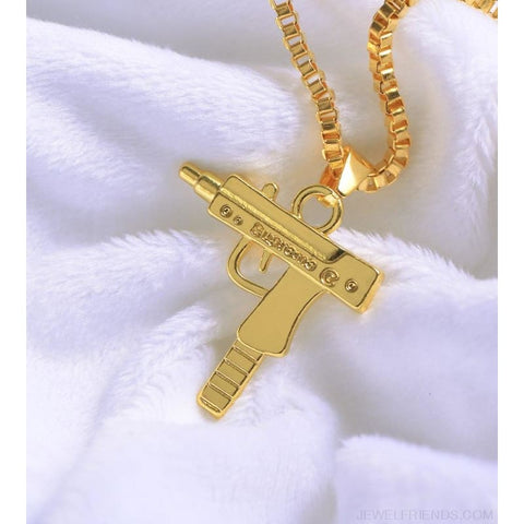 Hip Hop Gun Shape Pendant Necklace - Custom Made | Free Shipping