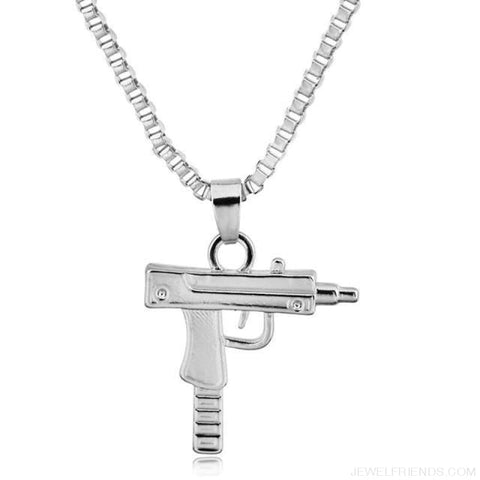 Image of Hip Hop Gun Shape Pendant Necklace - Silver - Custom Made | Free Shipping