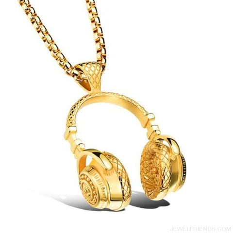 Image of Hip Hop Headphone Pendant Necklaces - Gold Necklace - Custom Made | Free Shipping