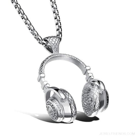 Image of Hip Hop Headphone Pendant Necklaces - Steel Color - Custom Made | Free Shipping