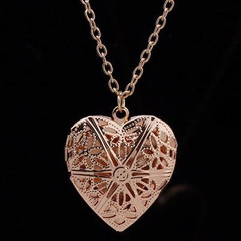 Hollow Heart Add Image Inside Pendant Necklaces - Gold - Custom Made | Free Shipping