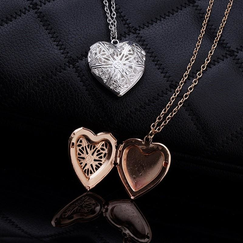 Hollow Heart Add Image Inside Pendant Necklaces - Custom Made | Free Shipping