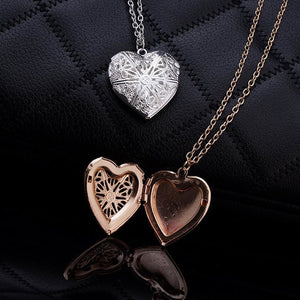 Hollow Heart  Add Image Inside Pendant Necklaces