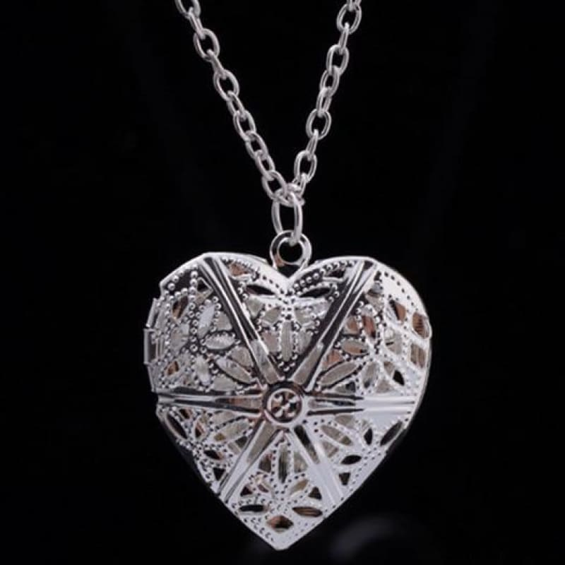 Hollow Heart Add Image Inside Pendant Necklaces - Silver - Custom Made | Free Shipping